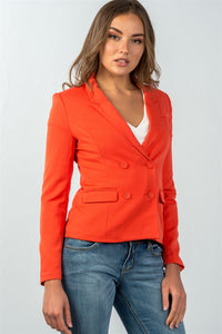 Ladies fashion  coral double button down classic solid blazer - FitBeautyTrends