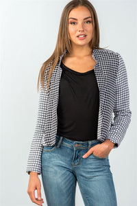 Ladies fashion two pockets  black & cream checkered monochrome blazer - FitBeautyTrends