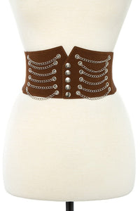 Draped chain wide detailed stretch belt - FitBeautyTrends