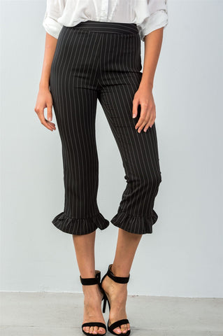 Ladies fashion all over pin stripes ruffle hem high waist culottes pants - FitBeautyTrends
