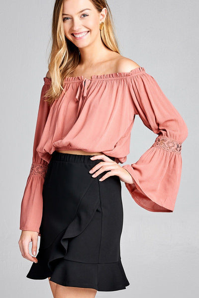 Ladies fashion long sleeve w/lace trim off the shoulder self tie front crinkle gauze woven top - FitBeautyTrends