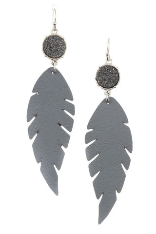 Druzy stone accent feather earring - FitBeautyTrends