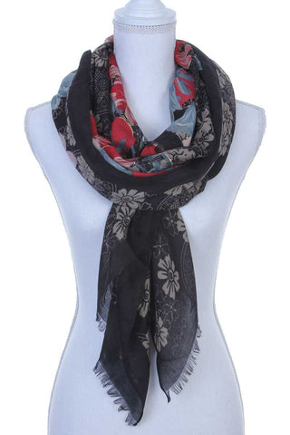 Floral pattern oblong scarf - FitBeautyTrends