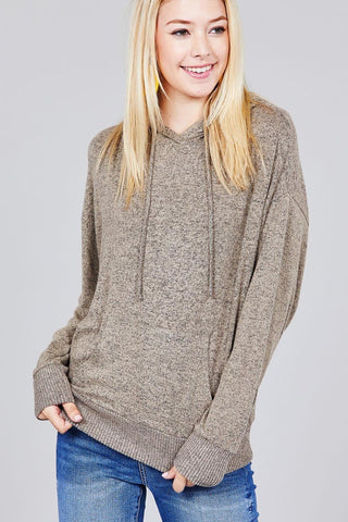Ladies fashion long sleeve hoodie w/drawstring brushed hacci knit top - FitBeautyTrends