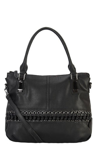 Designer braided accent tote bag - FitBeautyTrends