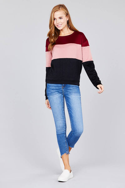 Long sleeve round neck color block pattern brushed french terry top - FitBeautyTrends