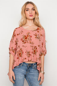 Floral Multi Peach High Low Round Neck Top - FitBeautyTrends