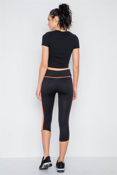 Contrast Stripe Active Sporty Leggings - FitBeautyTrends