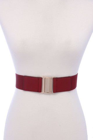 Metal Buckle Pu Leather Elastic Belt - FitBeautyTrends