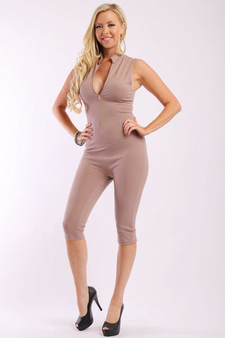 Solid, Stretched, Sleeveless Bodycon Capri Jumpsuit With Front Zipper And Mandarin Collar - FitBeautyTrends