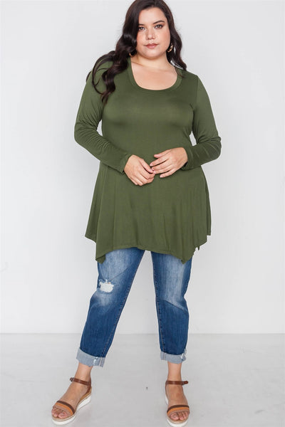 Plus Size Long Sleeve Basic Top - FitBeautyTrends