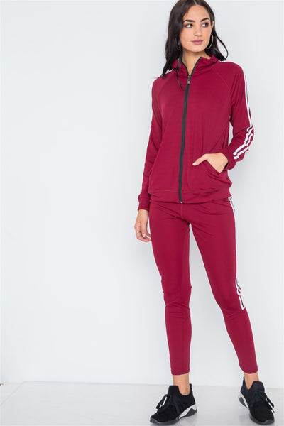 Burgundy White Active Two Piece Legging Jacket Set - FitBeautyTrends