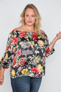Plus Size Black Floral Off-the-shoulder Satin Top - FitBeautyTrends