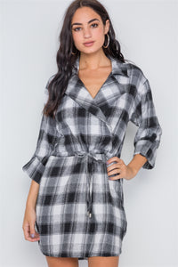 Black Plaid Long Sleeve Casual Mini Dress - FitBeautyTrends