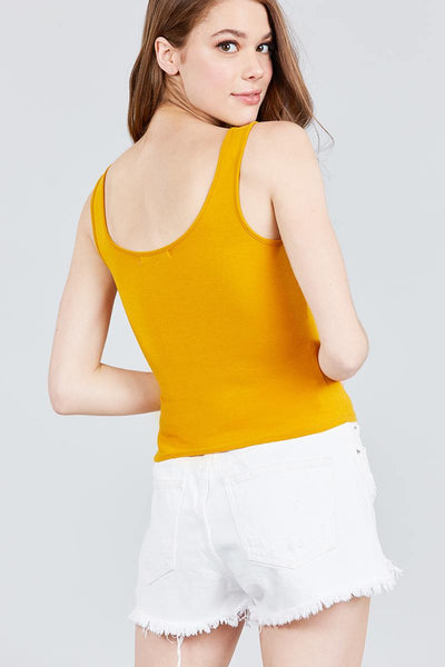 Double Scoop Neck Color Block Knit Tank Top - FitBeautyTrends