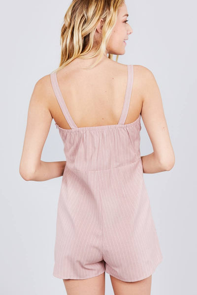 Button Down Yarn Dye Stripe Cami Linen Romper - FitBeautyTrends