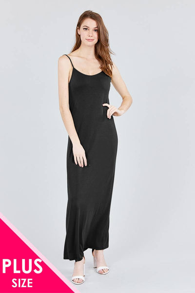 Double V-neck Cami Maxi Dress - FitBeautyTrends