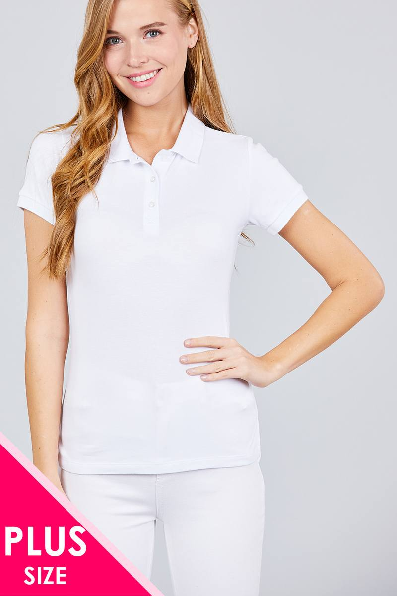 Classic Pique Spandex Polo Top - FitBeautyTrends