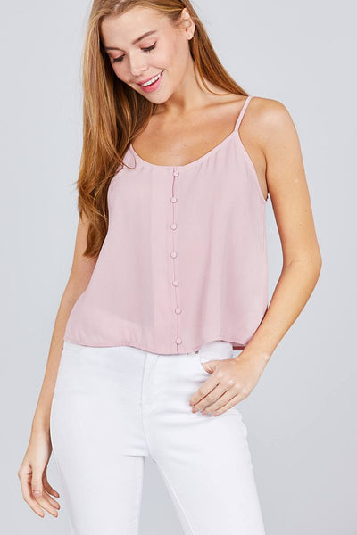 Front Button Cami Woven Top - FitBeautyTrends