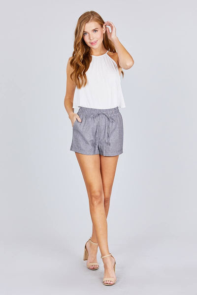 Waist Elastic W/drawstring Yarn Dye Stripe Short Pants - FitBeautyTrends