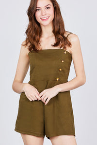 Button Down Cami Linen Romper - FitBeautyTrends
