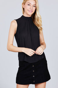 Sleeveless Mock Neck Back Button Woven Top - FitBeautyTrends