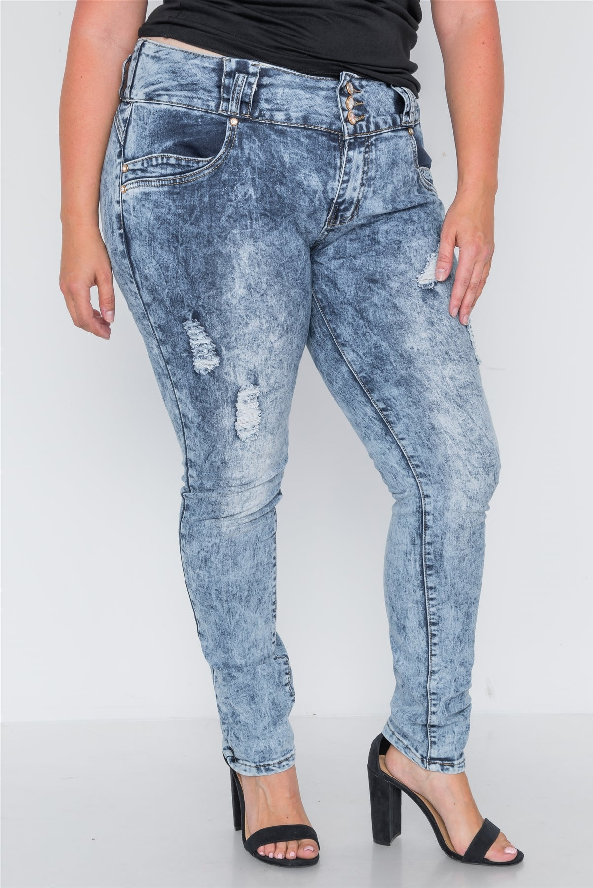 Plus Size Dark Denim Distressed Skinny Jeans - FitBeautyTrends