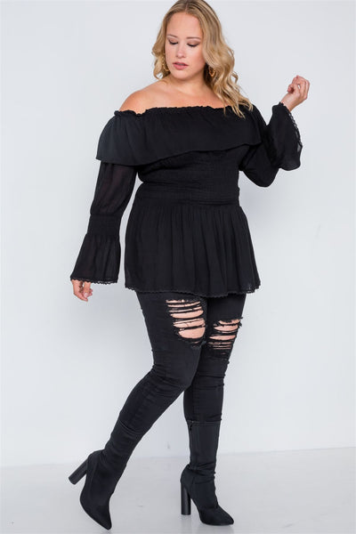 Plus Size Off-the-shoulder Flounce Top - FitBeautyTrends