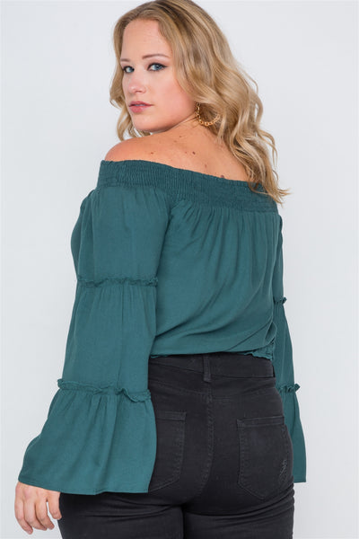 Plus Size Off-the-shoulders Bell Sleeve Top - FitBeautyTrends