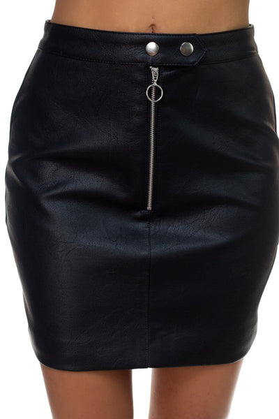 Faux Leather O-ring Zipper Up Skirt - FitBeautyTrends
