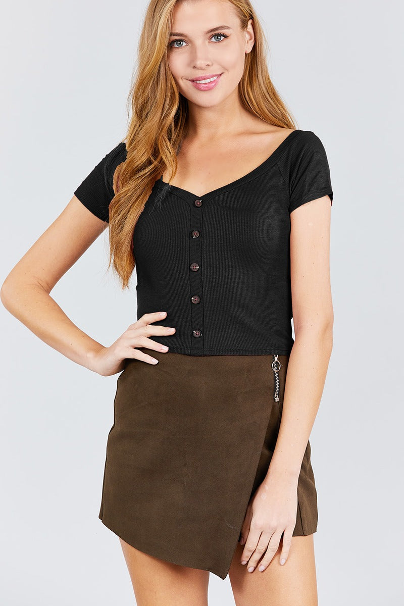Short Sleeve Off The Shoulder Neckline Button Down Rayon Spandex Rib Knit Top - FitBeautyTrends