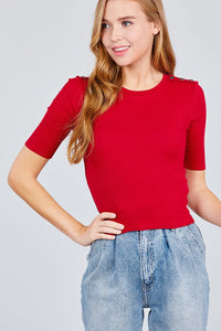 Elbow Sleeve Crew Neck W/shoulder Button Detail Rib Knit Top - FitBeautyTrends