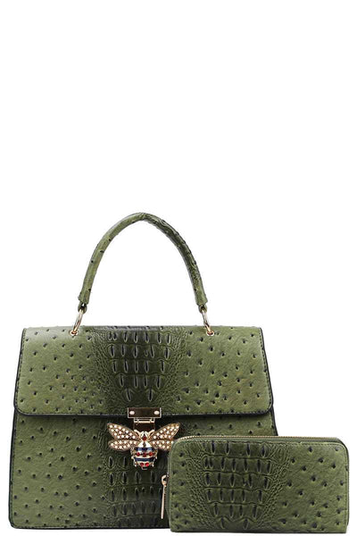 Stylish Insect Buckle Satchel With Matching Wallet - FitBeautyTrends