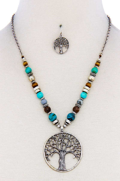 Trendy Bead And Tree Pendant Necklace And Earring Set - FitBeautyTrends