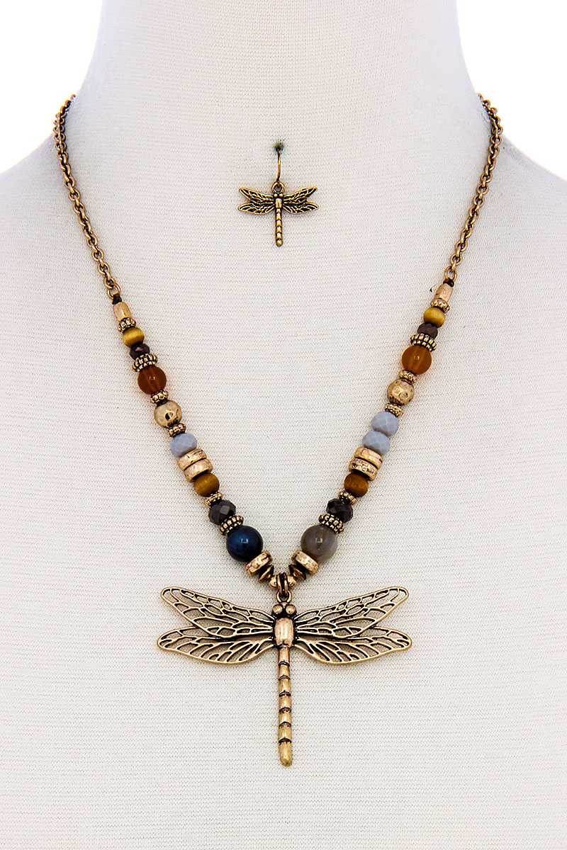 Fashion Bead Dragonfly Pendant Necklace And Earring Set - FitBeautyTrends