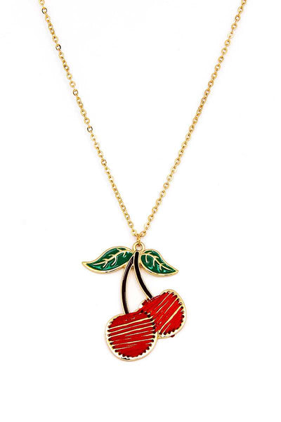 Designer Trendy Stitch Cherry Pendant Necklace And Earring Set - FitBeautyTrends