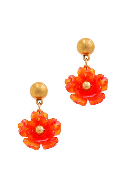 Fashion Poly Carbonate Flower Drop Earring - FitBeautyTrends