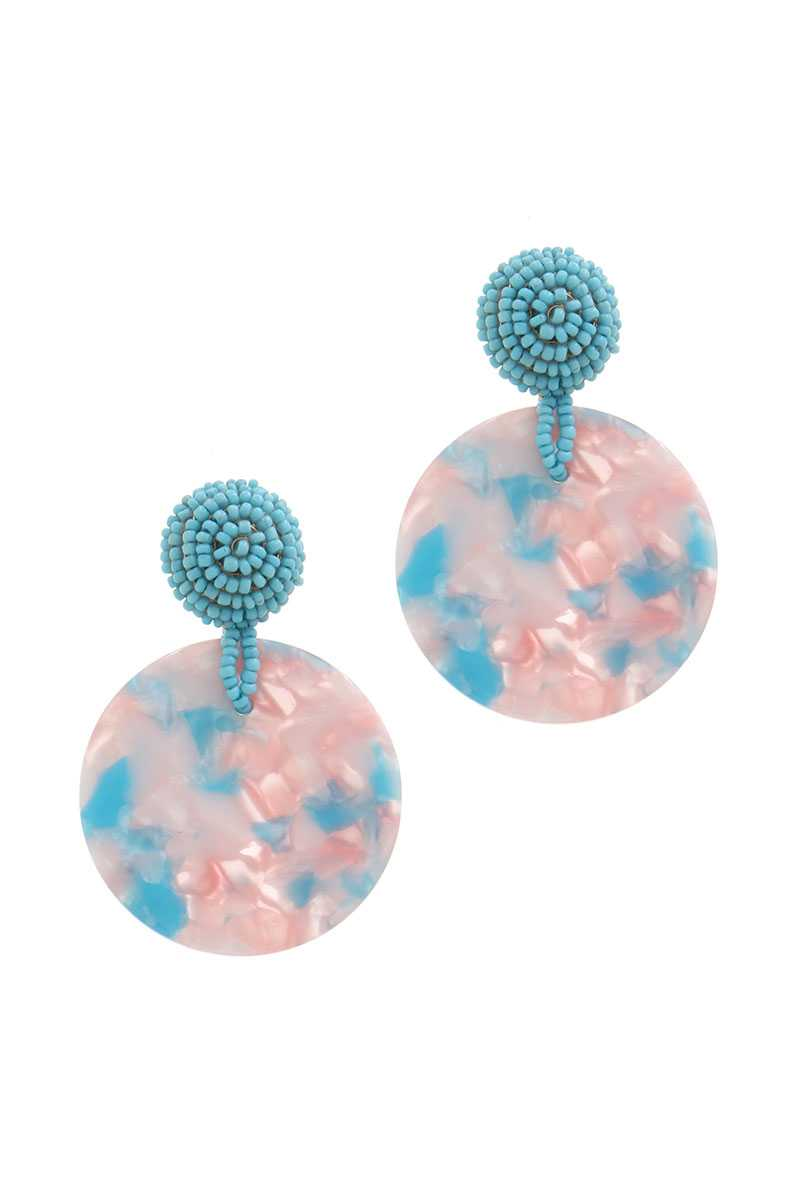 Acetate Circle Beaded Post Drop Earring - FitBeautyTrends