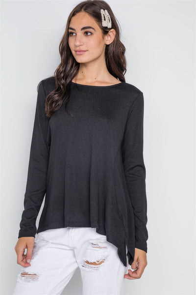 Black Long Sleeve Solid Asymmetrical Sweater - FitBeautyTrends