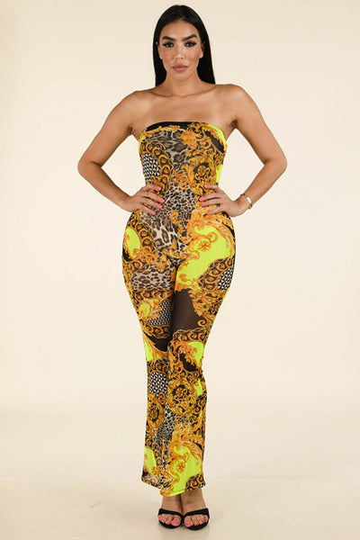 Printed Mesh Tube Jumpsuit - FitBeautyTrends
