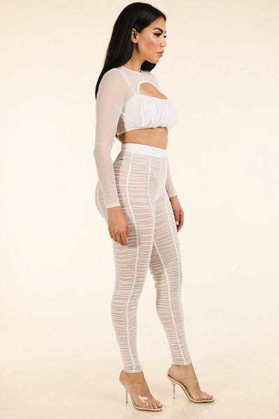 Shirred Mesh Top & Ruched Mesh Leggings Set - FitBeautyTrends
