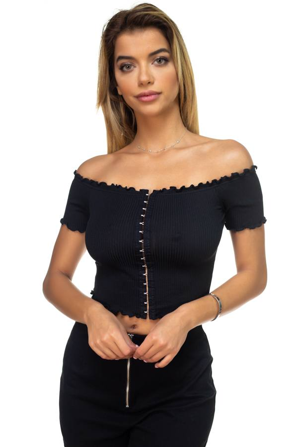 Hook & Eye Ribbed Off The Shoulder Top - FitBeautyTrends