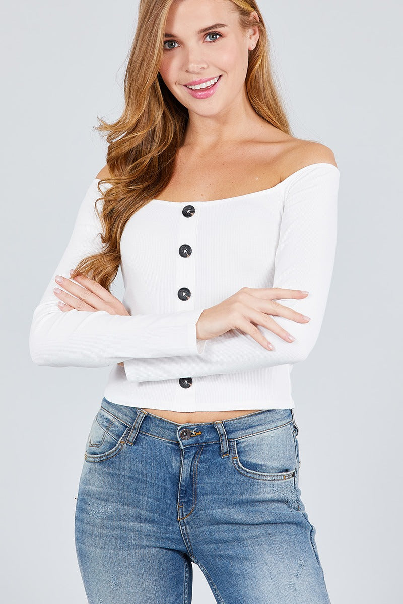 Long Sleeve Off The Shoulder Button Down Rayon Spandex Rib Knit Top - FitBeautyTrends