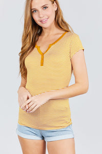 Short Sleeve Contrast Henley Neck Stripe Rayon Spandex Knit Top - FitBeautyTrends