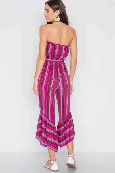 Stripe Strapless Flare Leg Jumpsuit - FitBeautyTrends