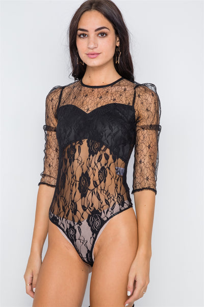 Floral Lace Combo Sheer Evening Bodysuit - FitBeautyTrends