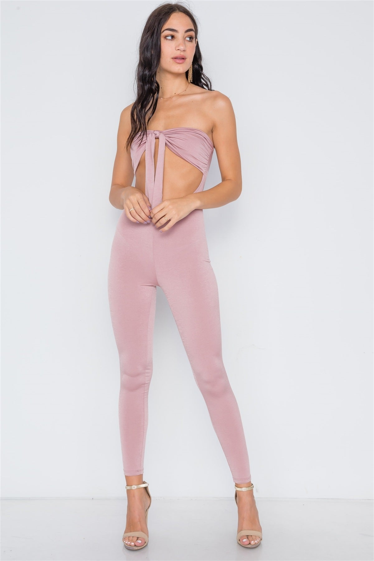 Front Tie Cut Out Skinny Leg Jumpsuit - FitBeautyTrends