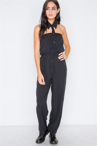 Black Basic Collar Button Down Solid Jumpsuit - FitBeautyTrends