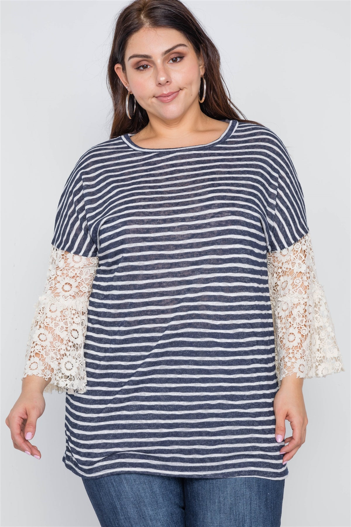 Plus Size Navy Taupe Stripe Lace Sleeves Knit Top - FitBeautyTrends