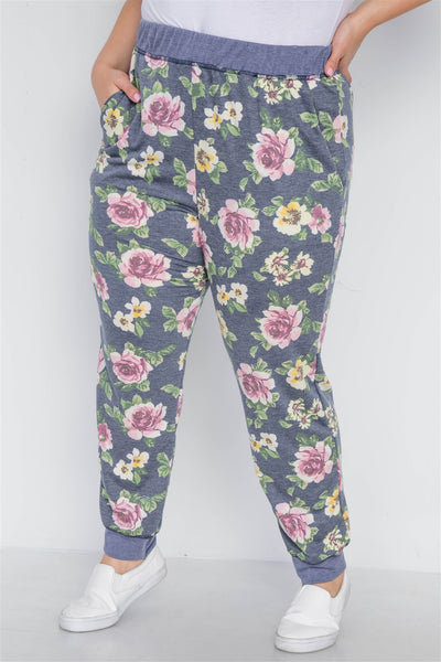 Plus Size Blue Floral Print Knit Joggers Pants - FitBeautyTrends